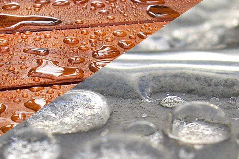 Water beading on coated wood and concrete surfaces