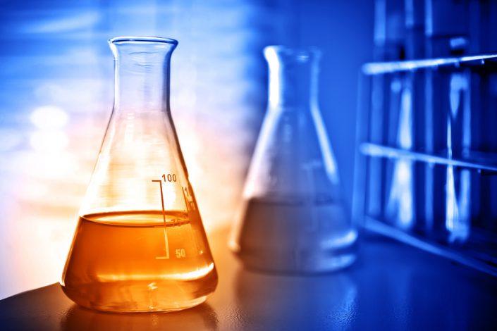 Flask with golden liquid